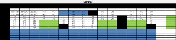 Treningstider sommer 2016. Grønn = kamp. Blå = ungdom.